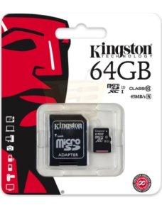 Memoria Kingston MicroSD 64gb Class 10 UHS-I 45MB/s Read Card + Adaptador