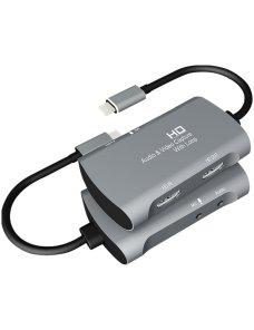Capturadora de Video Z30A HDMI + Mic to HDMI + Audio + USB-C / Type-C
